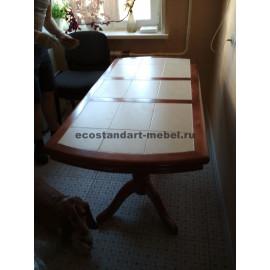Стол№16 2-х балясный с плиткой,старый орех-2